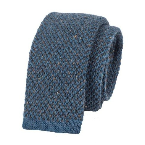 woolen blue marine donegal knit tie