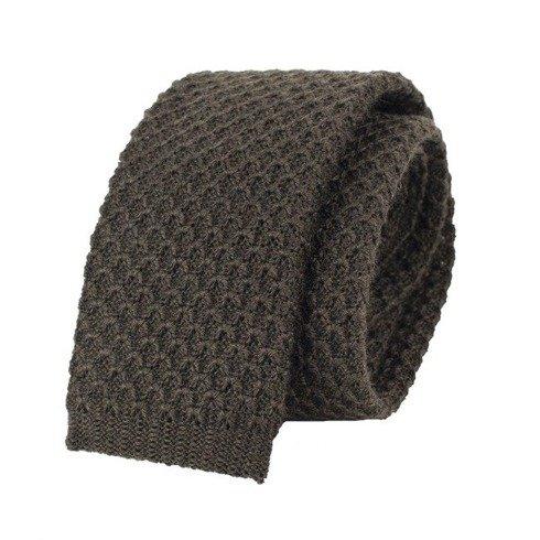 woolen brown knitted tie