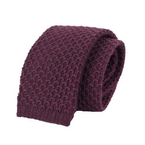 woolen burgundy knitted tie