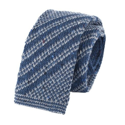 woolen navy & gray knit tie