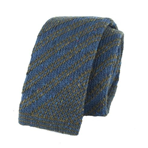 woolen navy & green knit tie