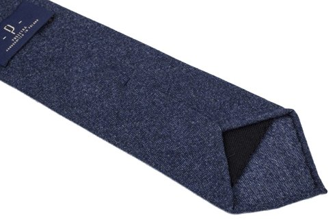 BLUE FLANNEL UNTIPPED HANDROLLED TIE