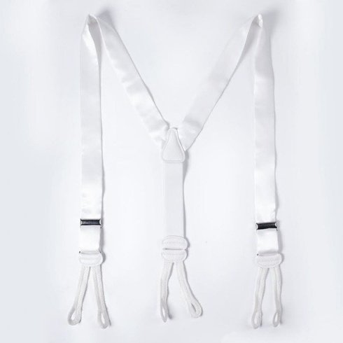 BRACES 3,5 CM CLIPS & BUTTONS WHITE SATIN SILK WITH LACE