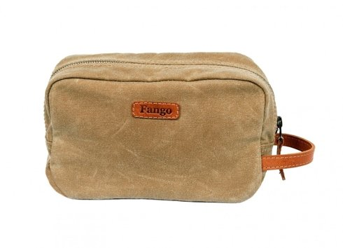 Beige waxed cotton toiletry bag