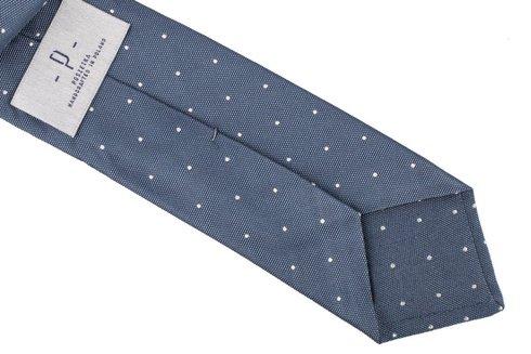 Blue silk jacquard polka dots tie 8 cm x 148 cm