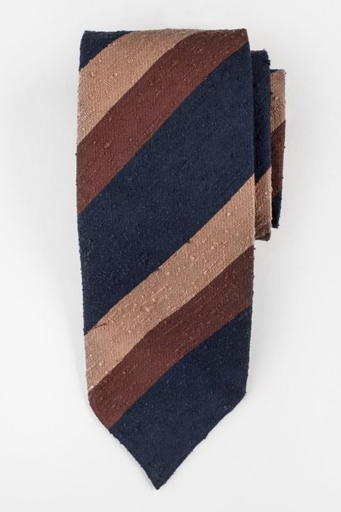 Brownish blue untipped shantung tie