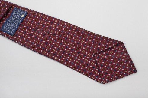 Burgundy six fold printed silk tie