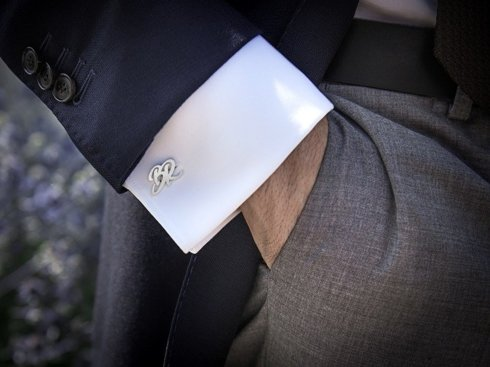 Engraved Silver Cuff Links