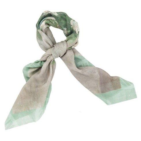 """Flowers"" Wool and Silk scarf 95 cm"