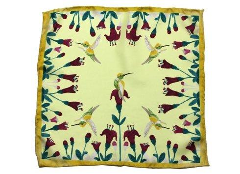 Hummingbirds silk pocket square