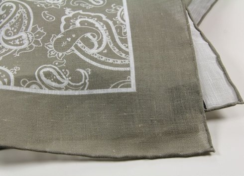 LINEN POCKET SQUARE PAISLEY