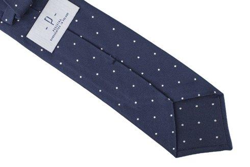 Navy Blue silk jacquard polka dots tie 8 cm x 148 cm