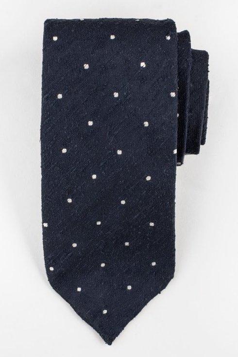 Navy blue untipped shantung tie