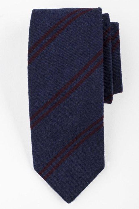 Navy woolen tie with burgundy stripes