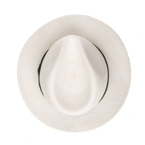 Panama hat white with green rep