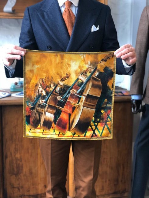 Pocket square 'double bass players'