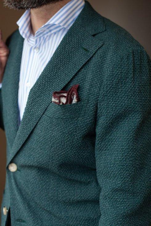 Preorder: emerald green seersucker jacket 'Carlo'