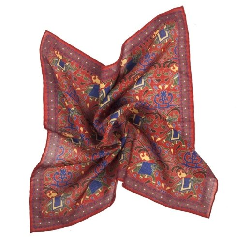 RED macclesfield pocket square