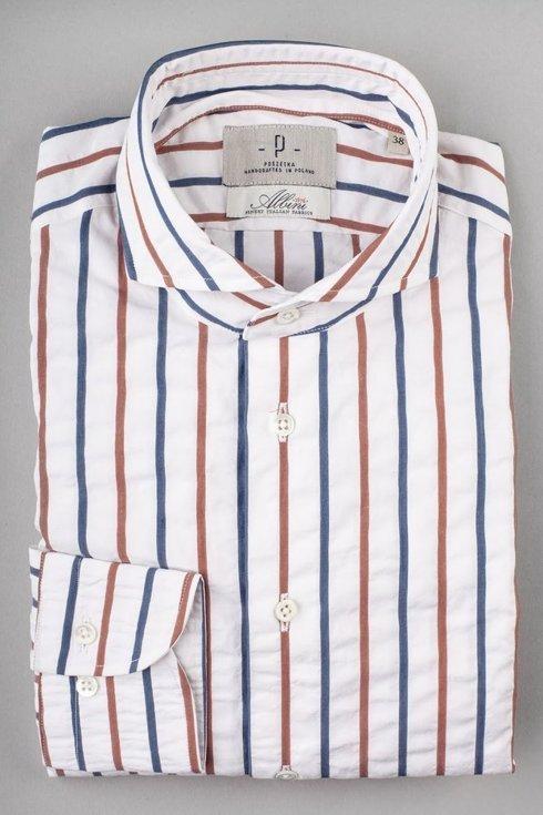 Seersucker cutaway collar shirt Albini