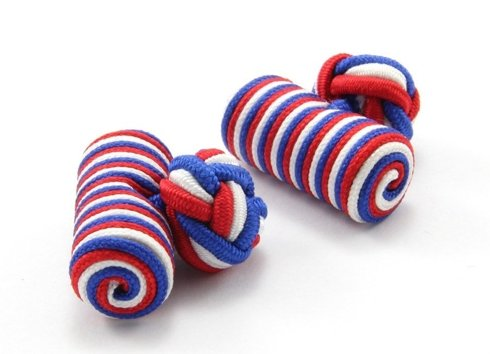 Silk knots red, blue and white