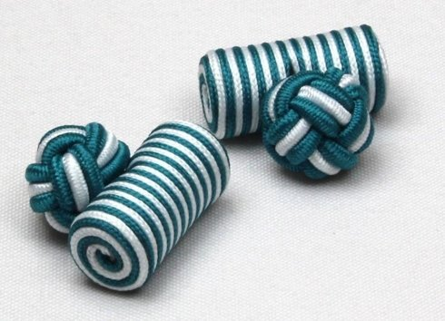 Silk knots white and green