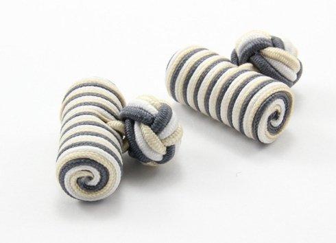 Silk knots white, cream and grey