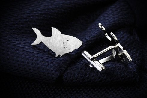 Silver Cuff Links Shark