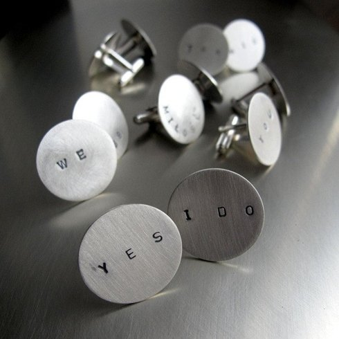 Silver Cufflink with your personal writting