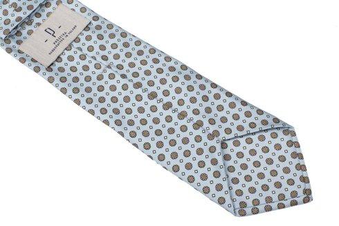 Sky blue six fold printed silk tie
