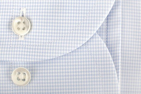 White & sky blue houndstooth shirt with semi-spread collar