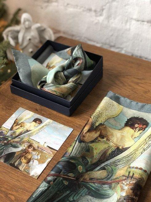 charity pocket square with Jacek Malczewski painting