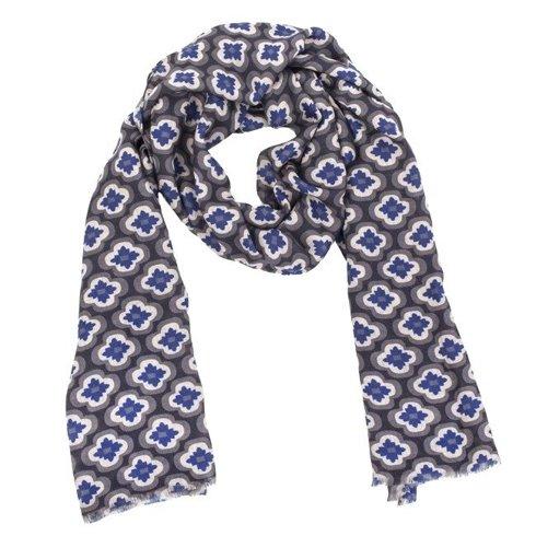 grey printed scarf with yak wool