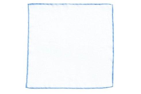 linen pocket square with sky blue border