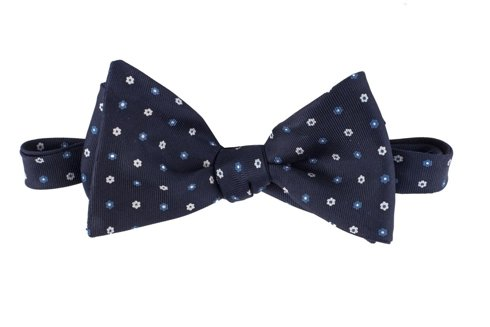 navy floral Macclesfield bow tie