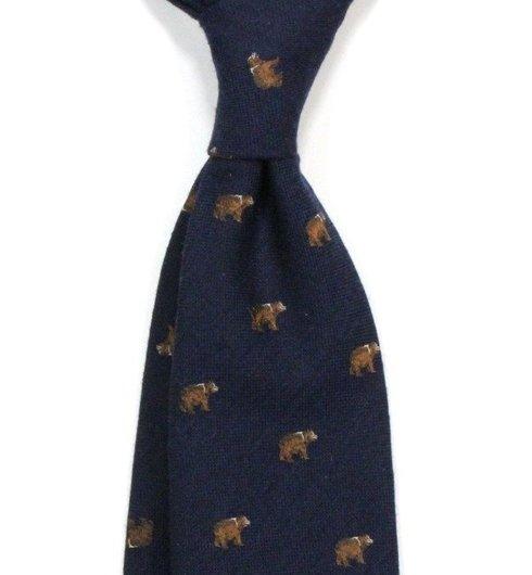 navy silk&wool tie BEAR