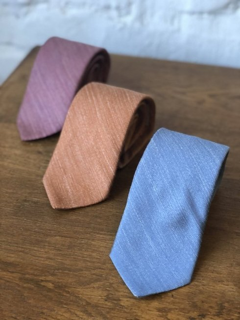 sea blue pastel linen & silk tie
