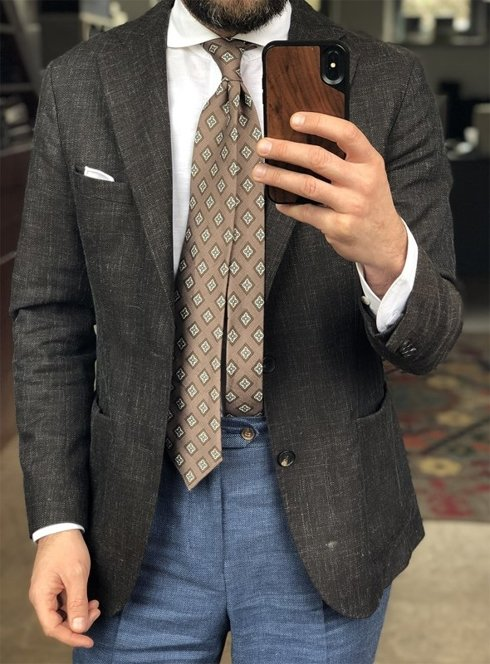 self-tipped printed linen brown TIE