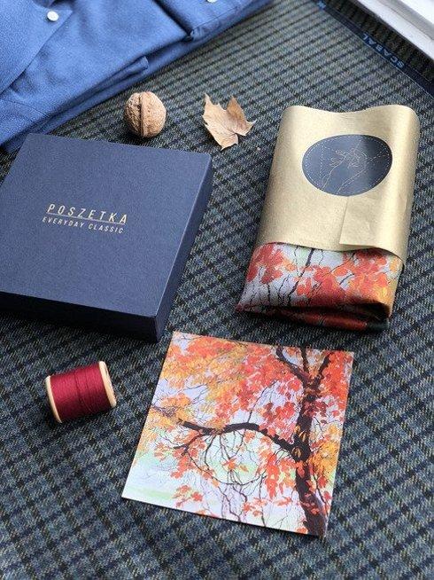 "silk 45cm scarf ""Autumn Leaves"" Edward Okuń"