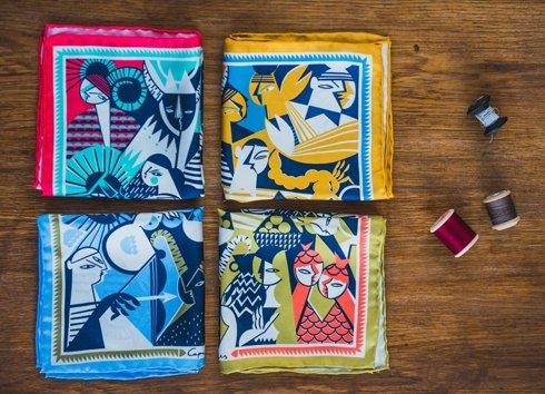 silk pocket square zodiac libra/scales