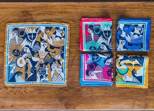 silk pocket square zodiac taurus/bull