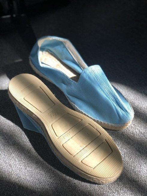 sky blue Espadrille with herringbone pattern