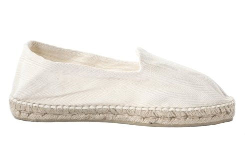 white Espadrille with herringbone pattern