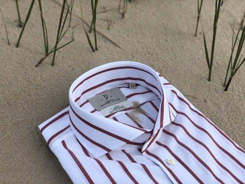 white & burgundy bengal Albini cotton shirt