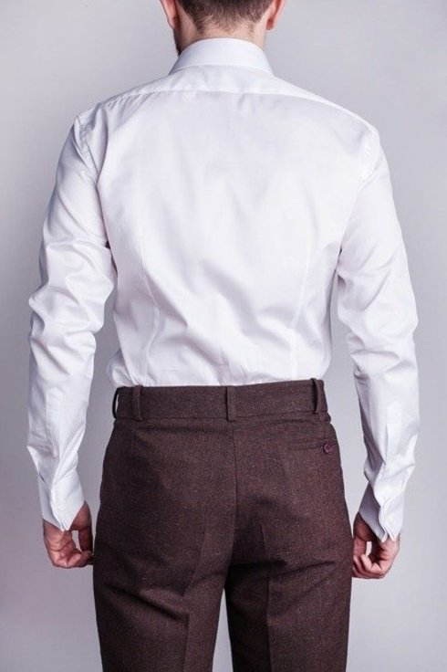 white formal shirt with semi spread collar