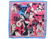 silk pocket square zodiac taurus/bull