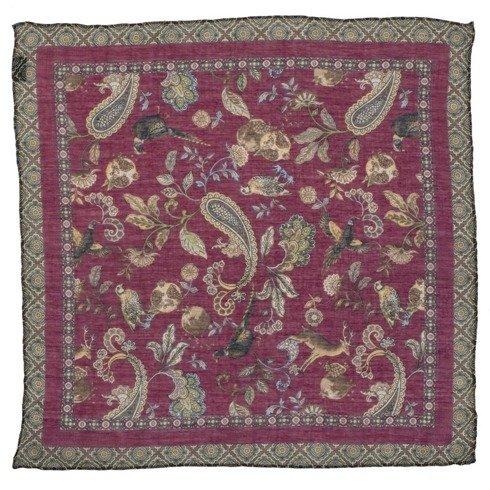 Bordowa poszetka z motywem zwierzęcym bawełna z kaszmirem 40 cm