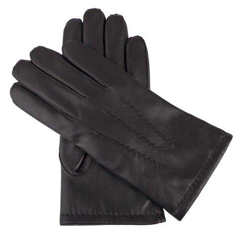 Brązowe rękawiczki z owczej skóry jagnięcej