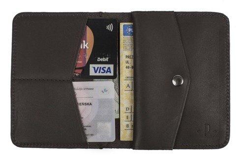 Brązowy matowy portfel z bilonówką