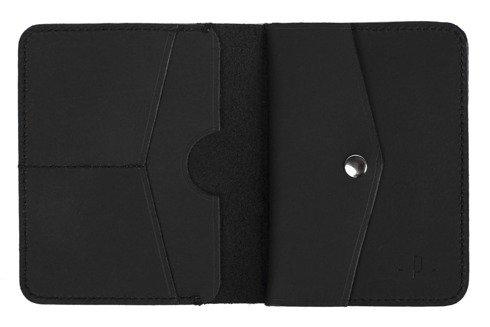 Czarny matowy portfel z bilonówką