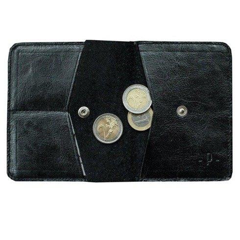 Czarny portfel z bilonówką